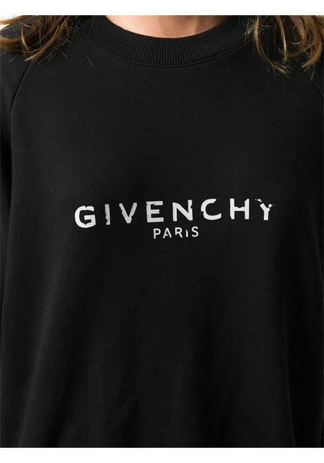 black and white cotton antique-effect logo print sweatshirt  GIVENCHY |  | BWJ01S3Z0Y001