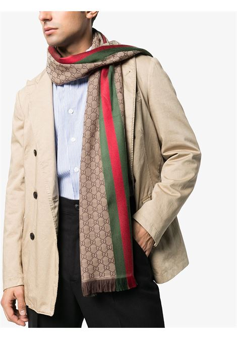 sciarpa marrone in misto lana e seta con stampa GG Supreme 37x180 GUCCI | Sciarpe e foulards | 147351-4G7042766