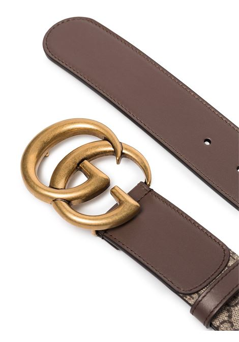 Beige and brown 4cm GG Supreme Marmont canvas and leather belt GUCCI |  | 400593-92TLT8358