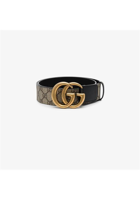 Beige and black 4cm GG Supreme Marmont canvas and leather belt GUCCI |  | 400593-92TLT9769