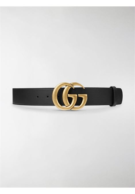 black calf leather 4cm belt characterised by a gold-tone double G buckle  GUCCI |  | 400593-AP00T1000
