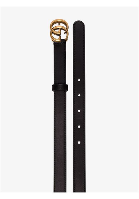 black calf leather 2cm belt with gold GG Gucci buckle  GUCCI |  | 409417-AP00T1000