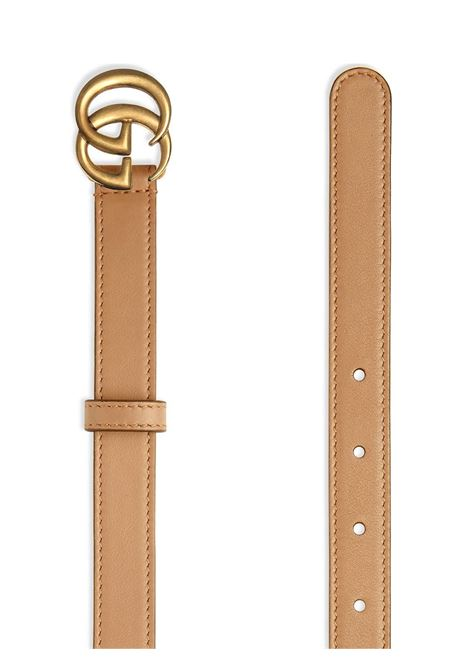 Tan beige calf leather 2 cm double G buckle belt  GUCCI |  | 409417-AP00T2845