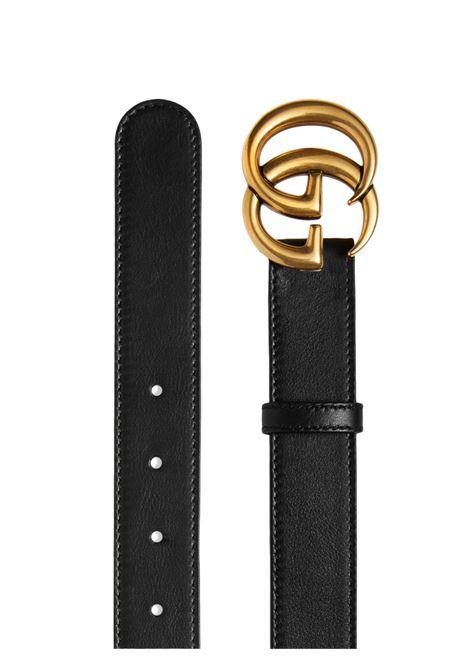 cintura nera in pelle di vitello con fibbia dorata con doppia G GUCCI | Cinture | 414516-AP00T1000