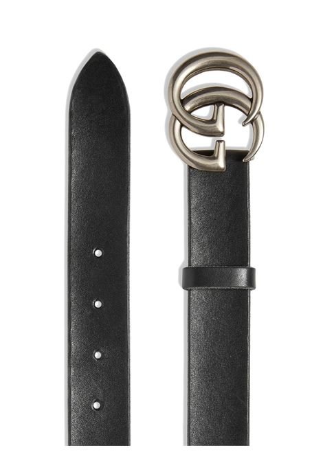 cintura nera 3m in pelle di vitello e fibbia doppia G color argento GUCCI | Cinture | 414516-CVE0N1000
