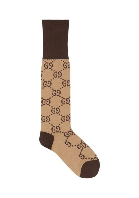 calza in cotone beige/marrone con trama Gucci GUCCI | Calze | 471093-4G5929764