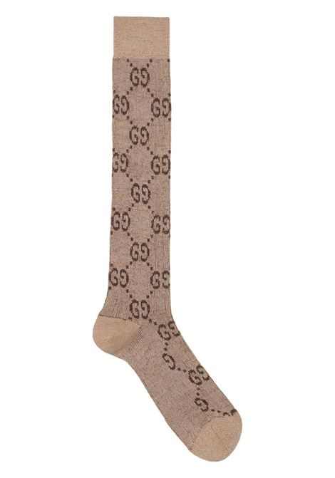 cotton and shiny lurex cream socks with Gucci all over print GUCCI |  | 476525-3G1999964