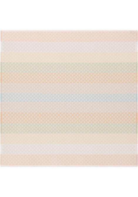 sciarpa 130x130 viscosa cotone fasce+gg lurex colorato bordi frange GUCCI | Sciarpe e foulards | 558274-3GC469288