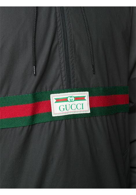giacca a vento nera in nylon e cotone con dettagli Gucci Web GUCCI | Giubbini | 594861-XDBCH1043