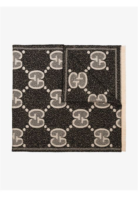 fringed bi-color black and grey wool and lurex maxi logo Gucci scarf GUCCI |  | 598993-3GC151078