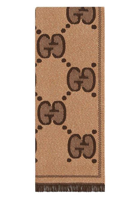 wool and lurex brown maxi logo Gucci scarf  GUCCI |  | 598993-3GC159764