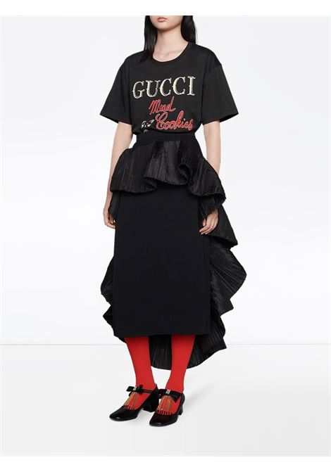 Black cotton Mad Cookies embroidered T-shirt   GUCCI |  | 615044-XJC0G1082