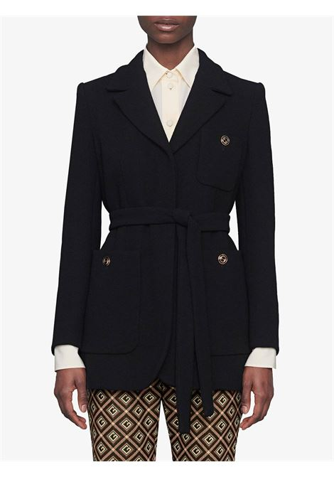 black sandblasted wool belted jacket with golden buttons GUCCI |  | 619253-ZJW571000