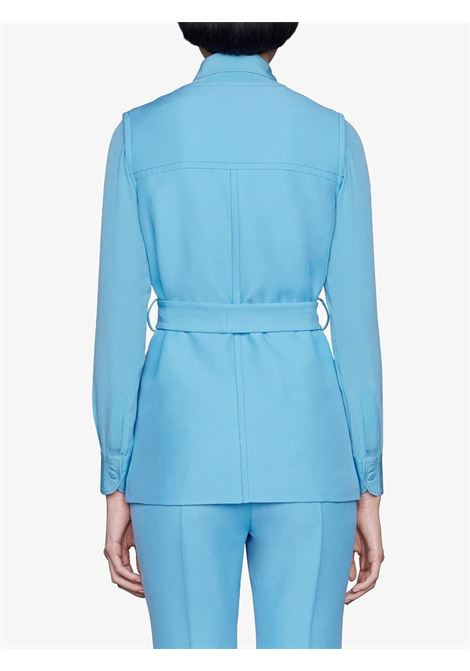 Sky-blue silk-wool blend patch-pocket sleveless vest  GUCCI |  | 619334-ZAD884300