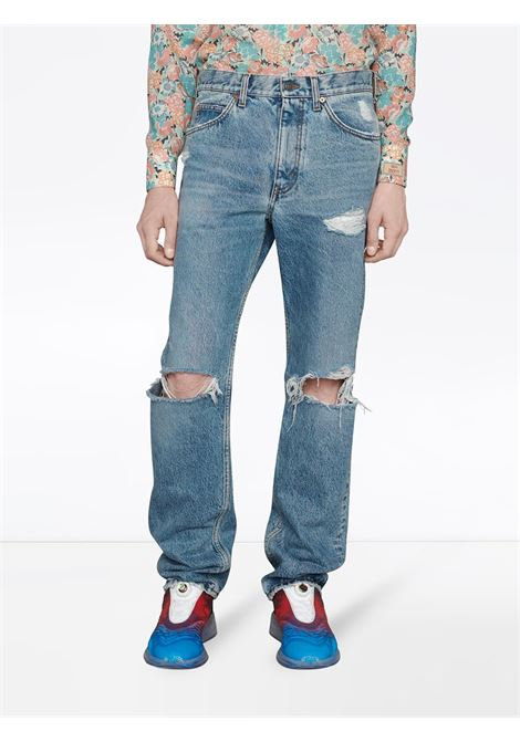 Blue organic cotton straight-leg jeans with distressed effect GUCCI |  | 623953-XDBFM4009