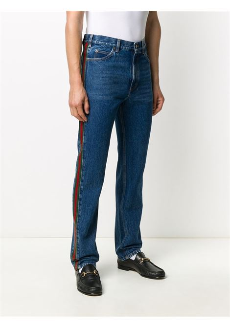blue cotton Sylvie bootcut jeans featuring Gucci Web detail GUCCI |  | 623954-XDA9B4447