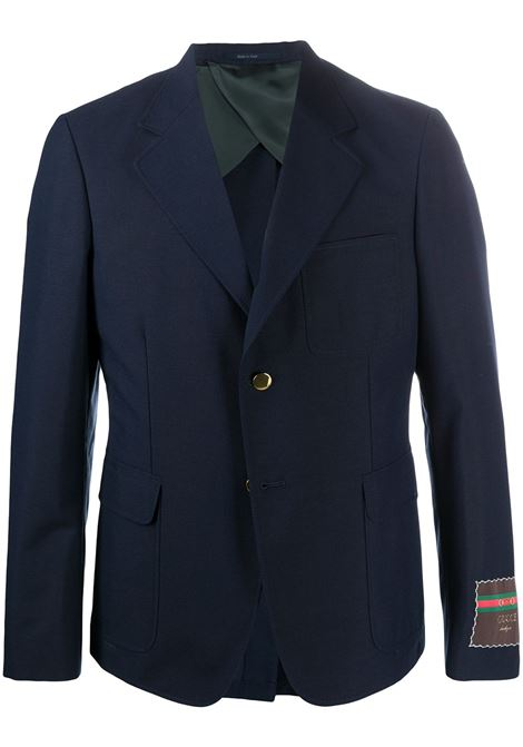 Caspian blue wool-cotton blend Gucci label single-breasted blazer  GUCCI |  | 624472-ZAC3K4240