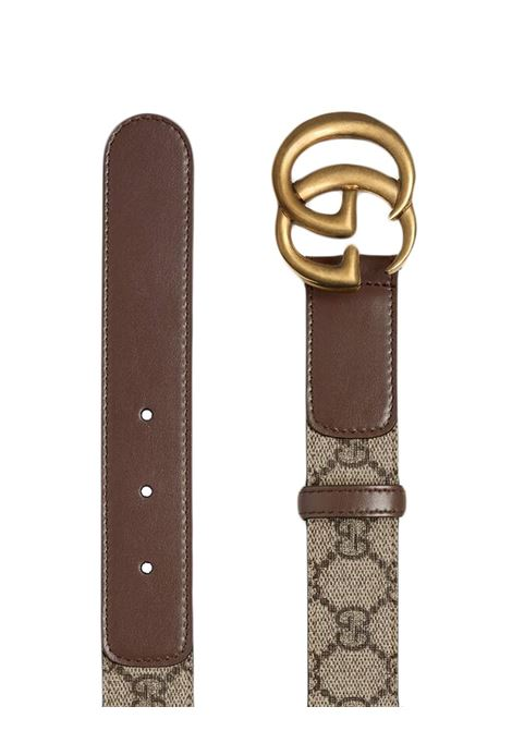 Beige and brown canvas GG Supreme Marmont 3cm belt  GUCCI |  | 625839-92TLT8358