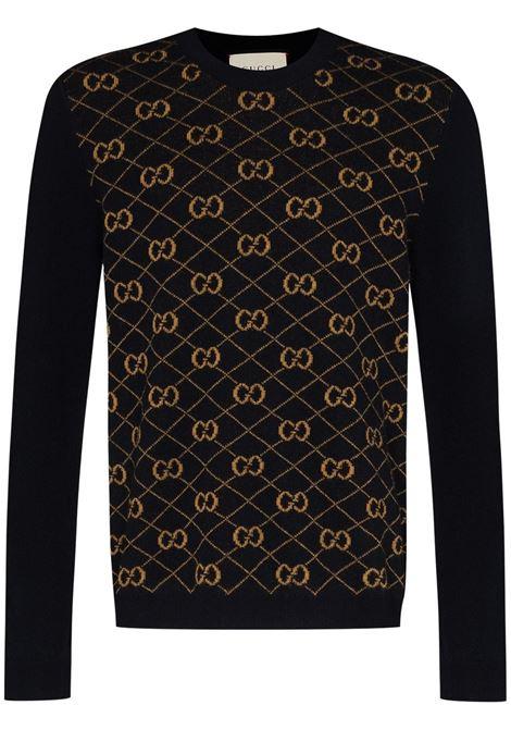 Black and gold wool and alpaca-blend Gucci logo intarsia jumper  GUCCI |  | 626288-XKBFB4795