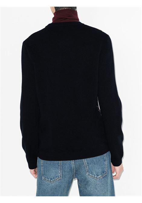 Maglione nero e oro in lana e alpaca con logo Gucci intarsiato GUCCI | Maglieria | 626288-XKBFB4795