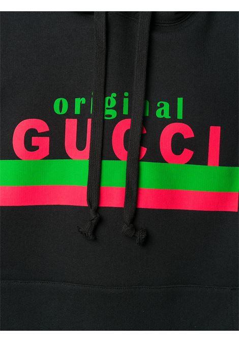 felpa in cotone nero con cappuccio con stampa Gucci Original GUCCI | Felpe | 626989-XJCOR1082