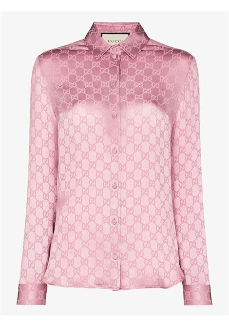 pink silk shirt with Gucci Supreme print all over GUCCI |  | 627773-ZAEJF5128