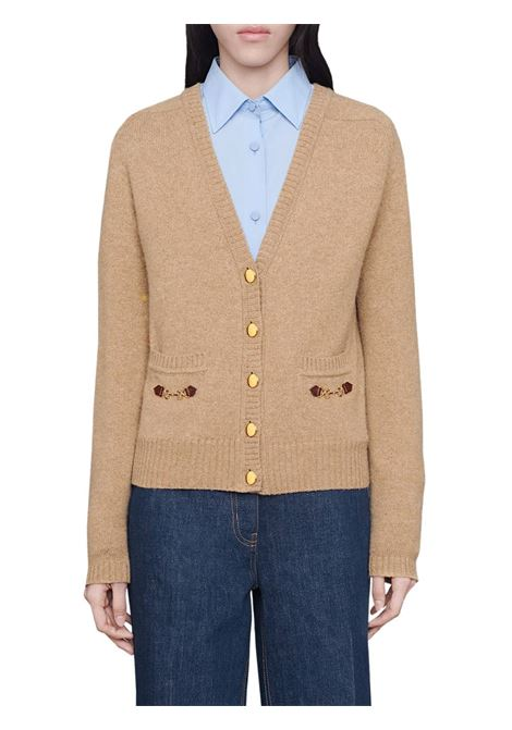 beige cashmere Gucci Horsebit-detail cardigan featuring leather trim GUCCI |  | 628412-XKBH92184