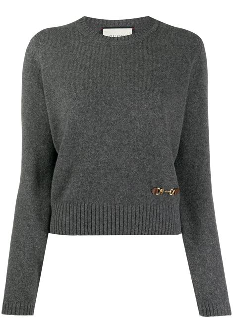 grey cashmere crew neck jumper featuring Horsebit detail GUCCI |  | 628413-XKBH91037