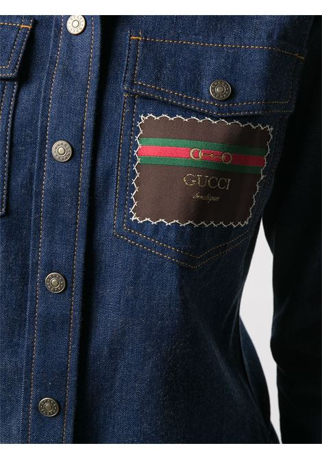 Blue cotton denim shirt featuring Gucci logo patch GUCCI |  | 628881-XDA934759