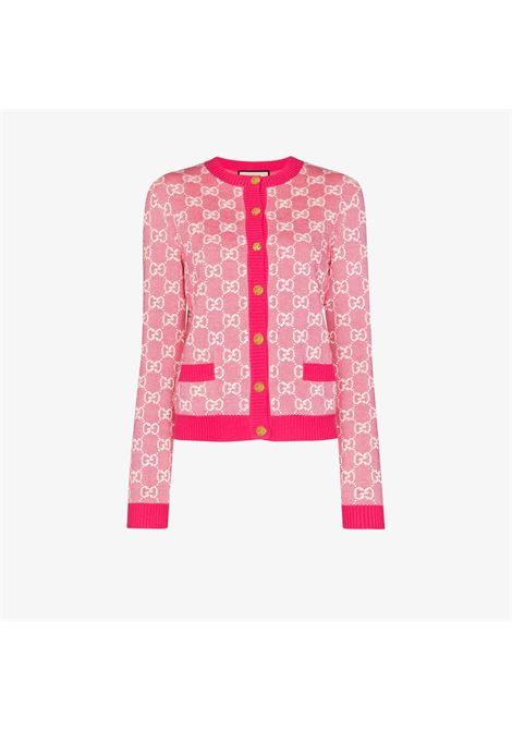 pink wool and cotton cardigan with golden buttons and Gucci Jacquard all over print  GUCCI |  | 629452-XKBHQ5016
