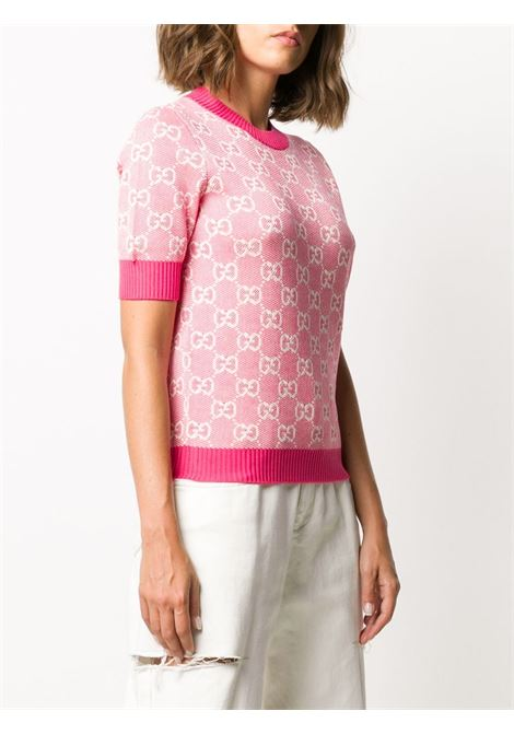 short sleeves knitted pink jumper with Gucci Supreme print all over GUCCI |  | 629456-XKBHQ5016