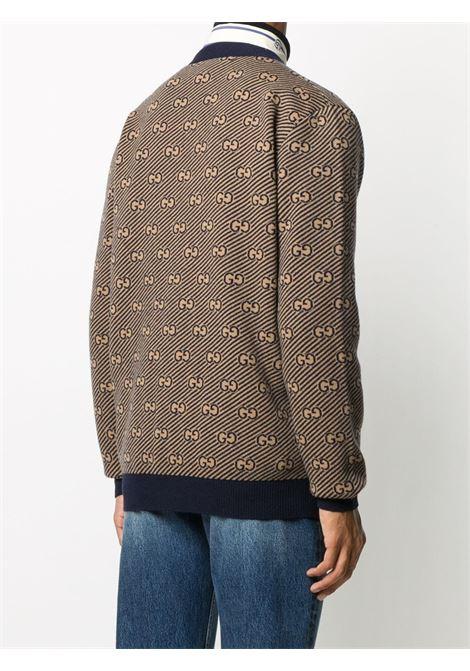 cardigan scollo a v bottoni cuoio lana jacquard gg+diagonale GUCCI | Cardigan | 630412-XKBFZ4314