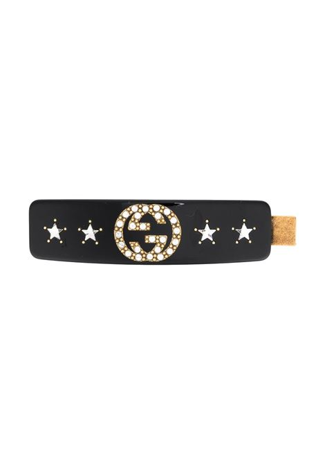 Black metal and resin hair slide featuring Interlocking GG logo GUCCI |  | 630703-I47728519