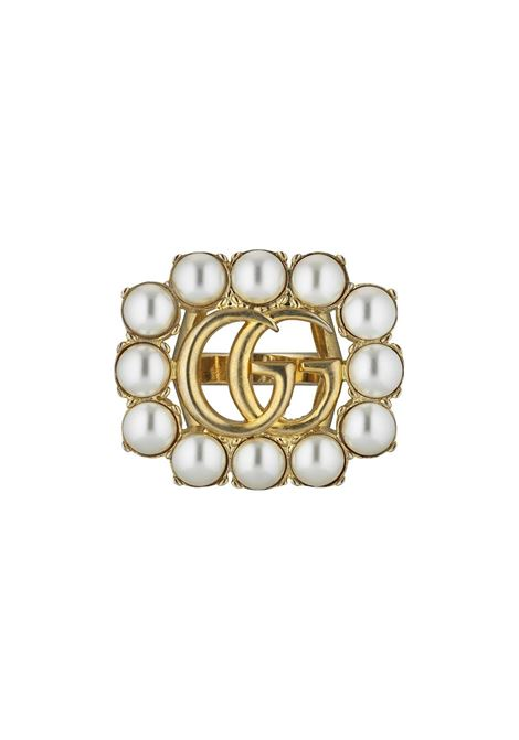 Gold metal ring with white pearls and GG Gucci central logo  GUCCI |  | 632816-I46208078