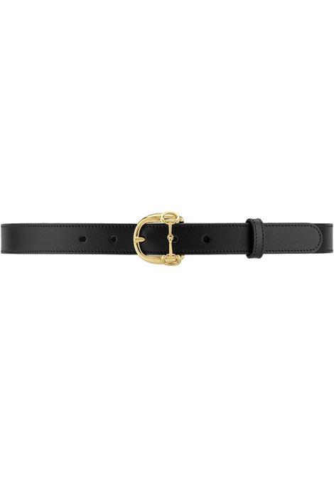 cintura in pelle di vitello 2,5 nera con fibbia Gucci Horsebit GUCCI | Cinture | 633125-BGH0G1000
