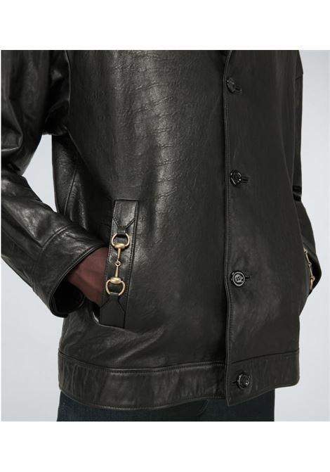 Giacca in pelle di agnello nera con Hosebit Gucci dorato GUCCI | Giubbini | 633130-XN6811000