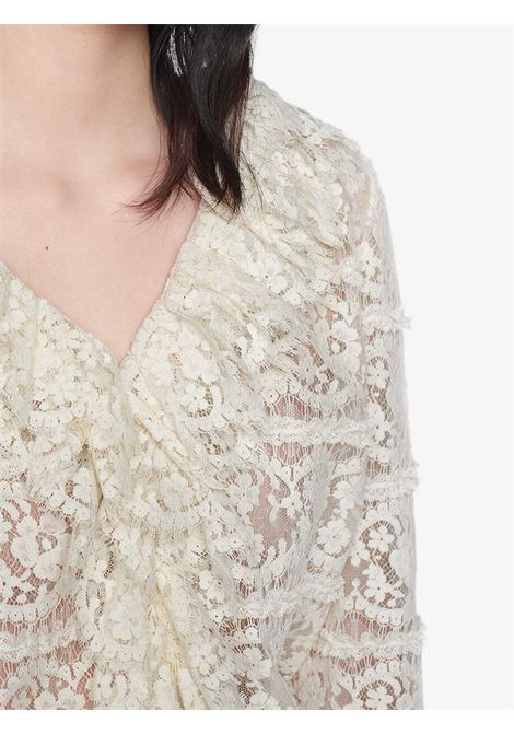 White cotton floral lace blouse featuring sheer panelling GUCCI |  | 633308-ZAFI49200