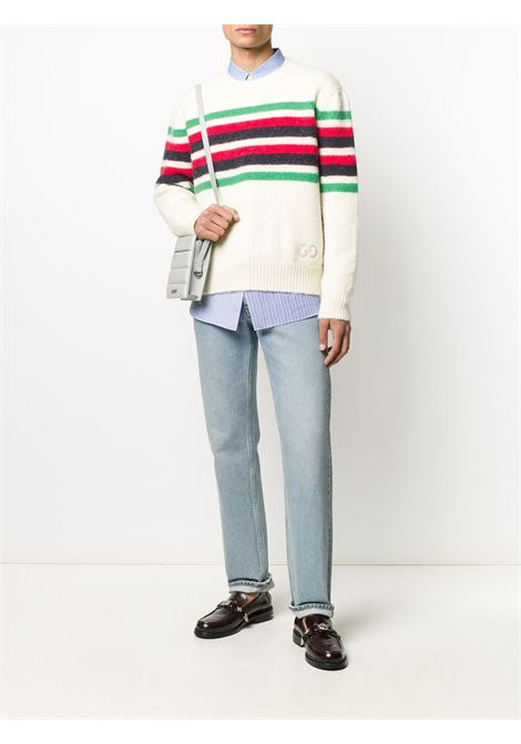 Crewneck pullover in white alpaca wool with horizontal black, green and red Gucci Web stripes GUCCI |  | 633614-XKBIP9275