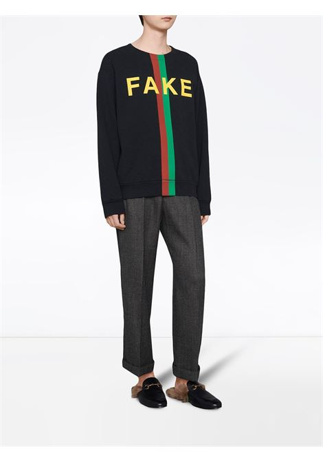 Black organic cotton Fake/Not print sweatshirt GUCCI |  | 635847-XJCXY1082