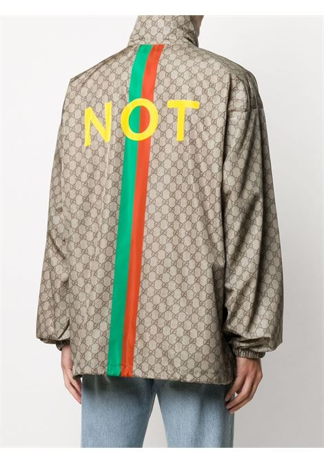 nylon Beige and multicolour 'Not Fake'-print jacket  GUCCI |  | 636390-ZAFKX7294