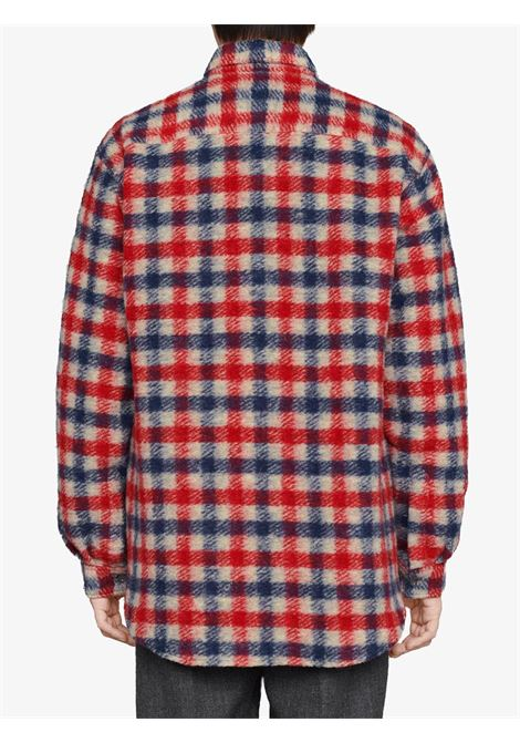Red and blue wool-linen blend mushroom embroidery check shirt featuring classic collar GUCCI |  | 636405-ZAFK39038