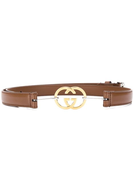 Cognac brown 2cm leather belt featuring gold GG buckle fastening GUCCI |  | 636902-0YA0X2361