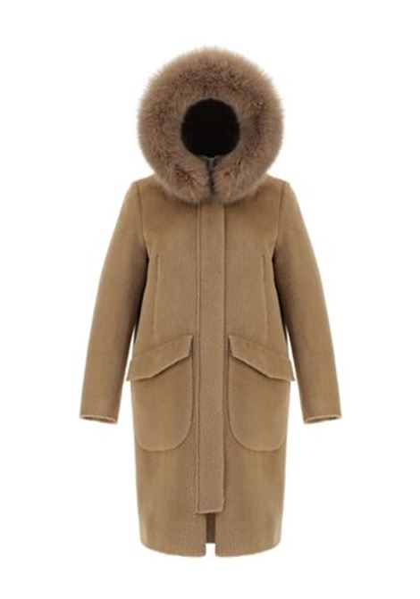 Camel coat with removable fox fur hood HERNO |  | PA0042D-332032155