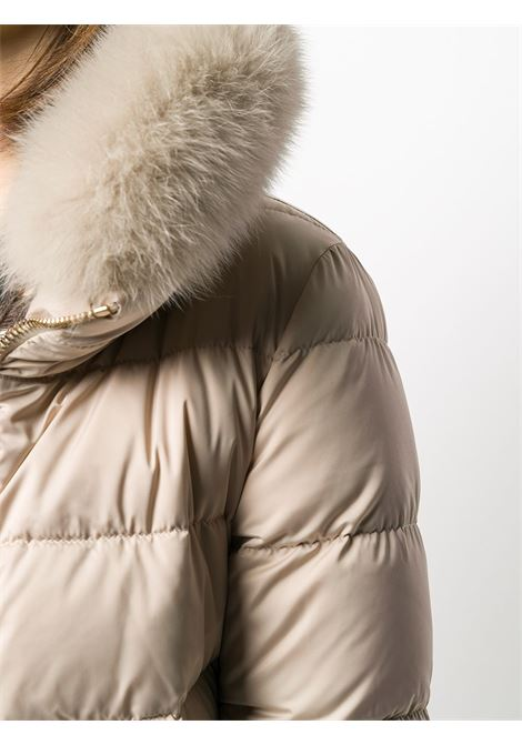 Long down jacket in mastic color in nylon with faux vest inside and hood with fur trim HERNO |  | PI0670-121701985