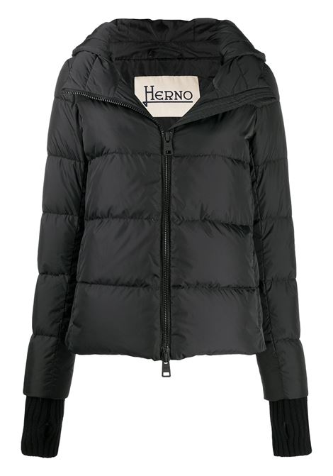 Black feather-down puffer jacket with detachable hood and glove detailing HERNO |  | PI1117D-120049389