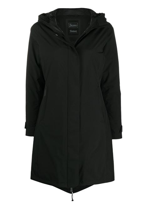 Black down-feather hooded coat featuring concealed front fastening HERNO |  | PI125DL-111219300