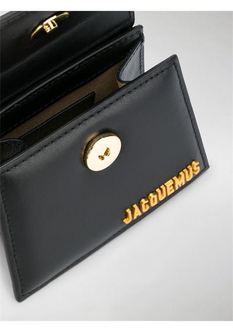 Le Chiquito mini in pelle di vitello nera con  logo Jacquemus color oro JACQUEMUS | Borse a tracolla | 203BA01-300990