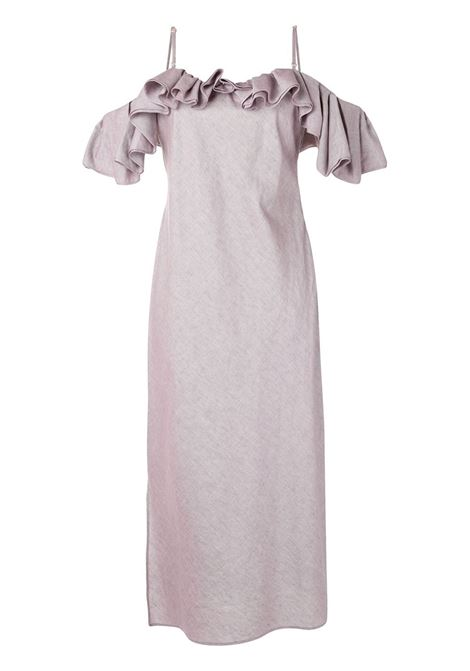 Soft purple cotton-linen blend La Robe Pampelonne dress featuring spaghetti straps JACQUEMUS |  | 203DR01-128640
