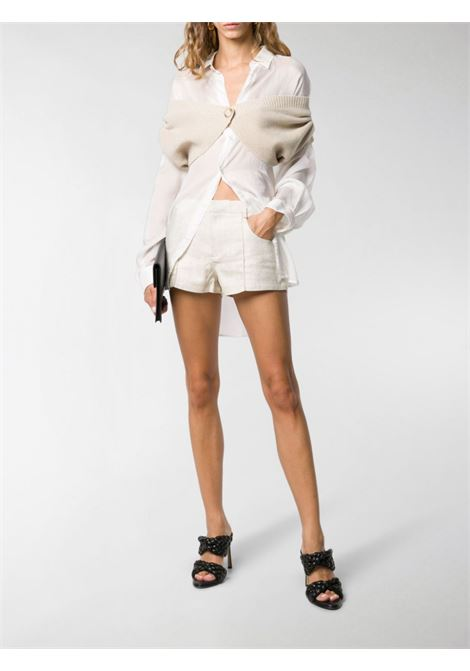 Beige wool Valerie off-the-shoulder cropped cardigan JACQUEMUS |  | 203KN39-208800