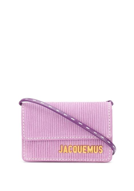 Borsa portacarte Le petit Riviera in camoscio rosa-viola con logo Jacquemus color oro JACQUEMUS | Borse a tracolla | 203SL04-309440